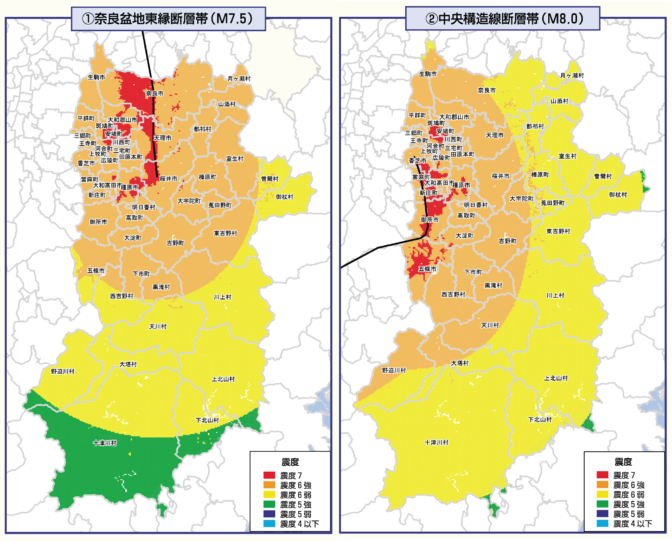 内陸型地震震度分布図(第2次奈良県地震被害想定調査報告書)
